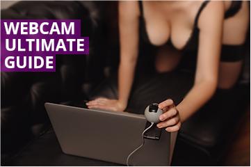 Woman in underwear in front of webcam